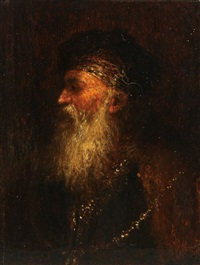 portrait of a beareded man with a gold chain by aert de gelder