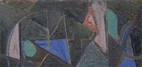 geometrische komposition mit blauem dreieck by erhard hippold