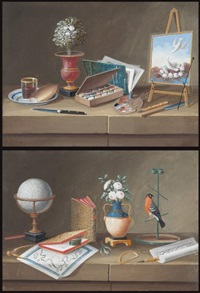 nature morte au chevalet - nature morte au globe terrestre (2 works) by lelong