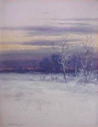 winter landscape at sunset by john elwood bundy