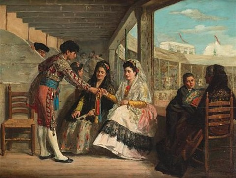 a matador presenting a gift matadors flirting with a young lady pair by carlos wade