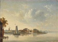 view of a dutch canal by johan conrad greive