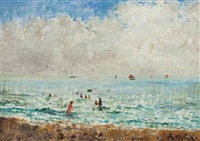 children playing in the waves by alfred stevens
