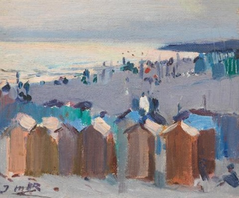casetas de baño playa de vilanova bathing huts on the beach at vilanova by joaquin mir trinxet