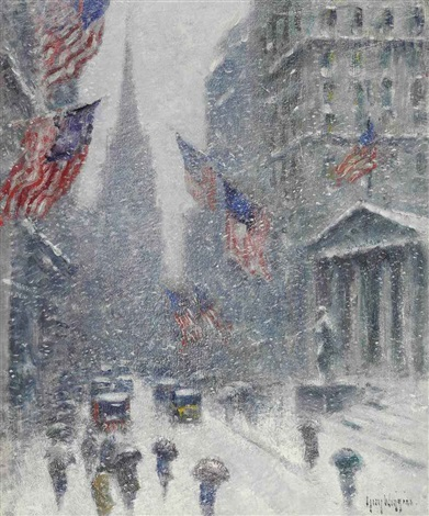 washingtons birthday wall street winter by guy carleton wiggins