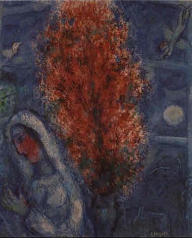La mariée au vase de fleurs rouges by Marc Chagall on artnet