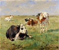 vache dans les prés by alfred jacques verwee