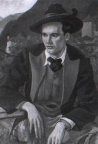 junger mann in tiroler tracht by fritz rocca-humpoletz