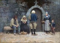 bretin peasants at a convent door by nathaniel hill