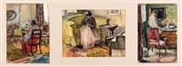 femme dans un intérieur (3 works) by bessie ellen davidson