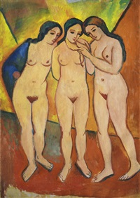 drei nackte mädchen rot und orange (three nudes, orange and red) by august macke