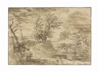travelers in a storm in a wooded river landscape by adriaen van der cabel