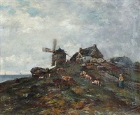 troupeau près de la ferme du moulin by louis merot du barré