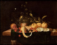stillleben mit orangen, kirschen, granatapfel und einem weinglas by jan jansz heem the younger