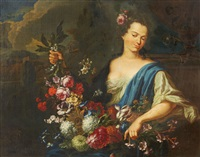 a young woman with a garland (flora?) by augustus (snip) terwesten