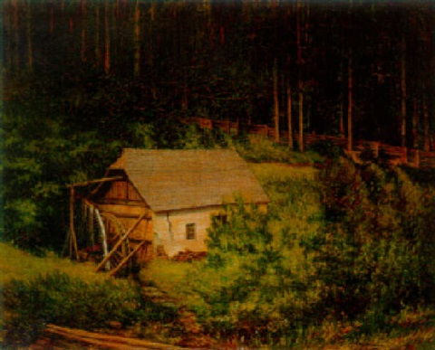 a watermill in a wooded landscape by carl massmann