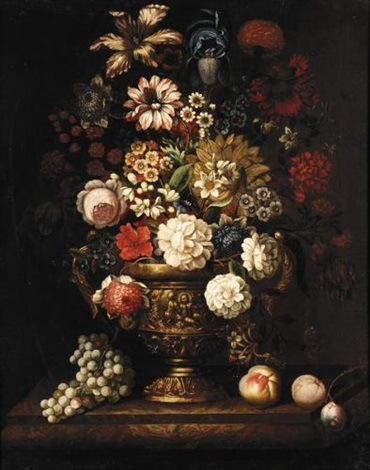 still life with roses irises narcissi and various other flowers in a bronze urn together with peaches and a plum on a marble ledge by anglo flemish school 18