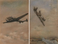 messerschmitt bf 110 en vol et dewoitine d 520 en vol (2 works) by paul lengelle
