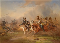 gefechtsszene zwischen österreichischer und ungarischer kavallerie in den revolutionsjahren by guido bach