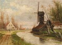 holländische kanallandschaft mit einem wanderer by marinus adrianus koekkoek the younger