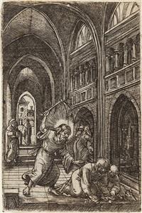 christus vertreibt die wechsler aus dem tempel by albrecht altdorfer