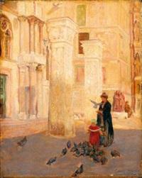mère et son enfant nourrissant les pigeons à venise by claude marks