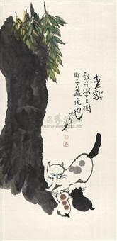 老猫教子上树 by liu xiaocen