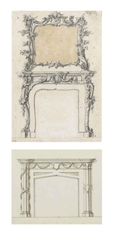 design for a fireplace and overmantle mirror; and design for a fireplace (4 works) by john linnell