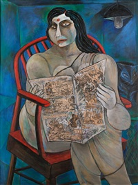 woman reading a newspaper by paritosh sen