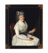 portrait of a lady, seated three-quarter length, wearing a white dress with lace trim, a blue and white ribbon in her hair holding a fan and a book by d. francisco bayeu y subias