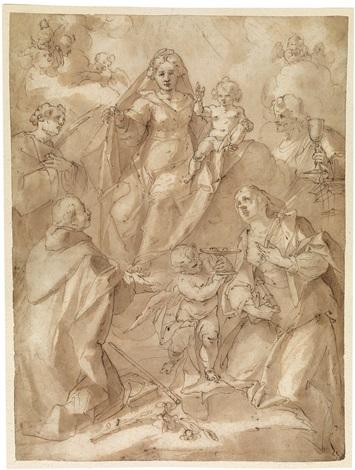 maria mit dem kind vor heiligen by giovanni andrea ansaldo