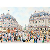 la fete du 14 juillet - place de l'opera, rue de la paix by michel hermel