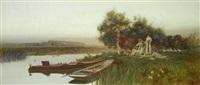 a summer picnic beside a river by thomas james lloyd