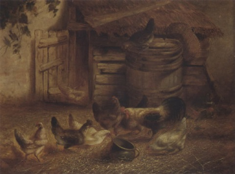 chickens feeding by a coop by w richards