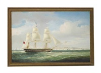 the licensed east indiaman palmyra showing her number as she passes margate heading for the downs by william john huggins