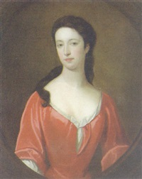 portrait of a lady wearing a red dress, in a painted cartouche by john smibert