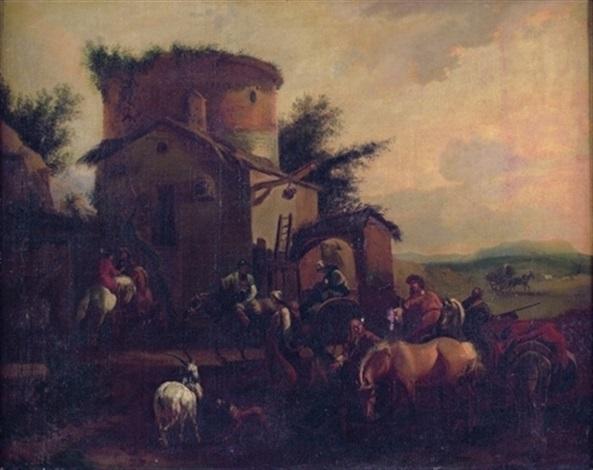 une halte de cavaliers devant une auberge by dirk maes