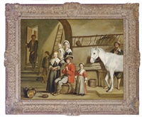 a family with a horse in a stable by mathieu (le chevalier) le nain