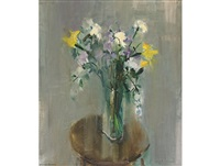 still life with spring flowers by louis van heerden