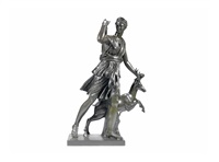 a 19th century french bronze figure of diane chasseresse<br/>after the antique by antique