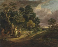 a wooded landscape with a gipsy fortune teller by gainsborough dupont