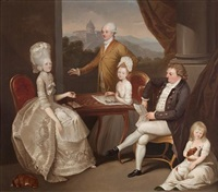 portrait of the hon. aubrey beauclerk and his family, in an elegant interior, a view to the castel gandolfo beyond by franciszek smuglewicz