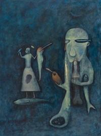 figurer i blått rom by kjell erik killi olsen