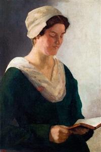 lezende jonge vrouw by anton smeerdijk
