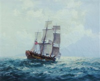sailing ship & coast by john allcott