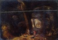 joyeuse compagnie dans un paysage à l'orée d'une grotte by rombout van troyen