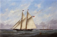 boats off le havre by victor charles edouard adam