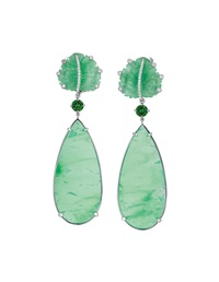 chrysoprase, chrome diopside, jade, and diamond ear pendants (pair) by margherita burgener