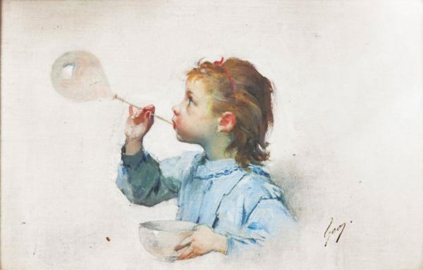 fillette à la bulle de savon by henry jules jean geoffroy