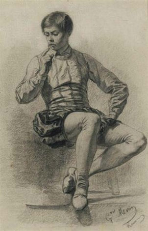 seated young man in renaissance costume by gustave françois morin